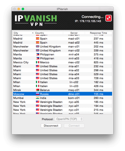 IPVanish VPN Zugangssoftware