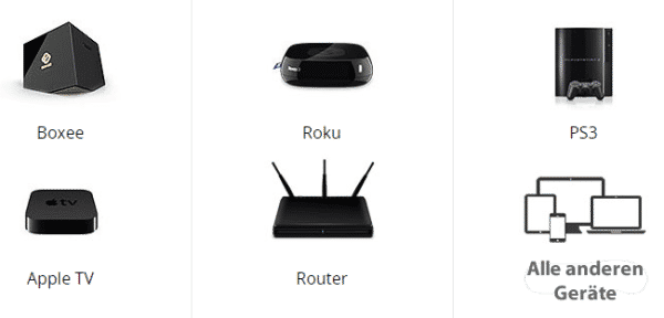 PureVPN _sonstige_ Geräte, Boxee, AppleTV, PS3