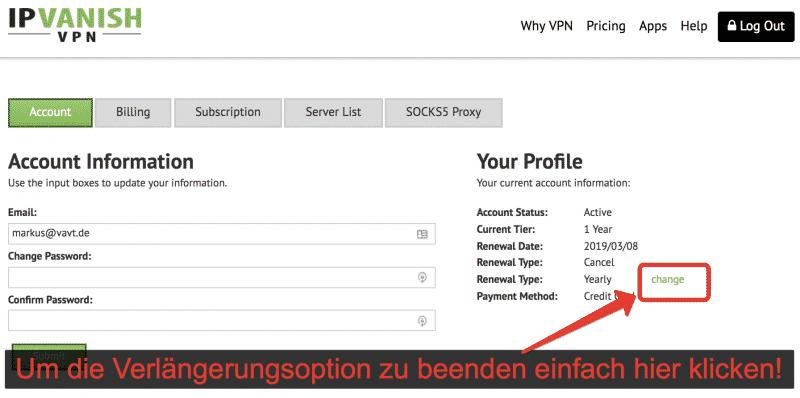 IPVanish VPN kündigen!