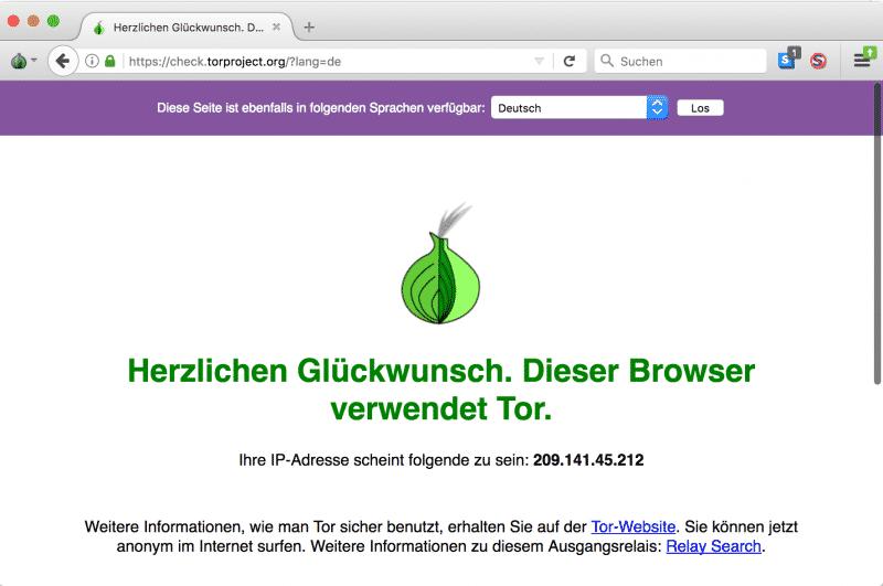 TOR Browser Startseite