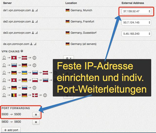 ZorroVPN Feste IP Adresse + Portweiterleitungen