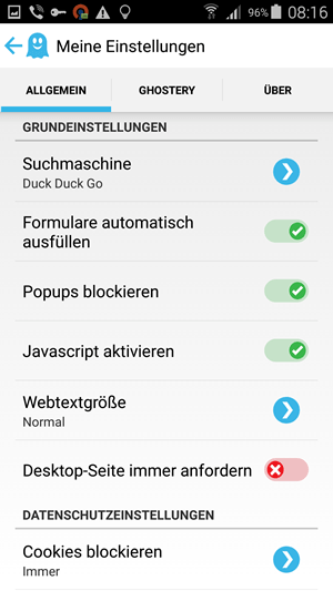 Ghostery Browser für Android