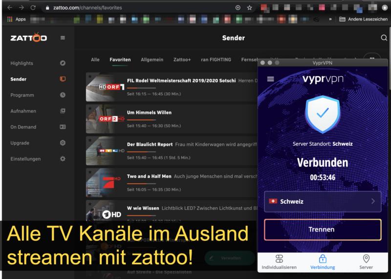 Alle deutschen TV Kanäle im Ausland streamen mit zattoo + VyprVPN