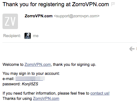ZorroVPN kostenlos testen (Schritt 3)