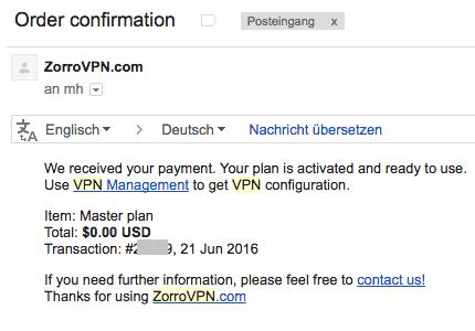 ZorroVPN kostenlos testen (Schritt 4)