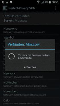 Perfect PrivacyVPNfürAndroidBeta
