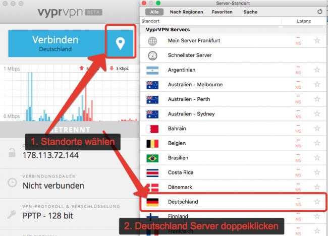 VyprVPN EM 2016 - Anleitung Server verbinden