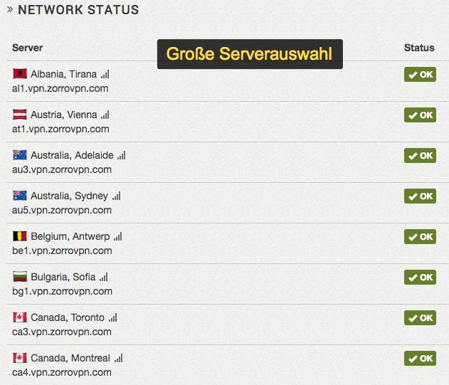ZorroVPN Serverauswahl im Konfigurator