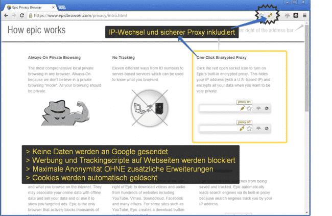 Epic Browser - basierend auf Chrome nur mit Privatsphäre eingebaut!