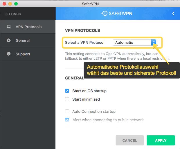 SaferVPN Mac OSX Anleitung