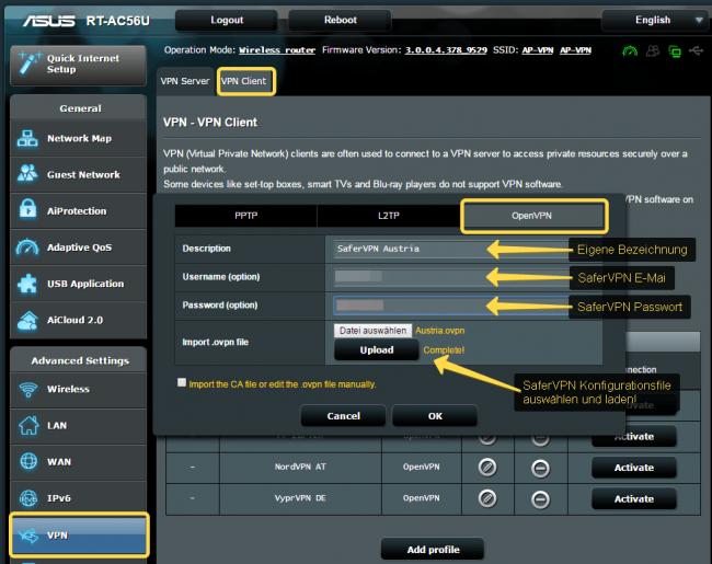 SaferVPN fuer ASUS Router mit OpenVPN 1
