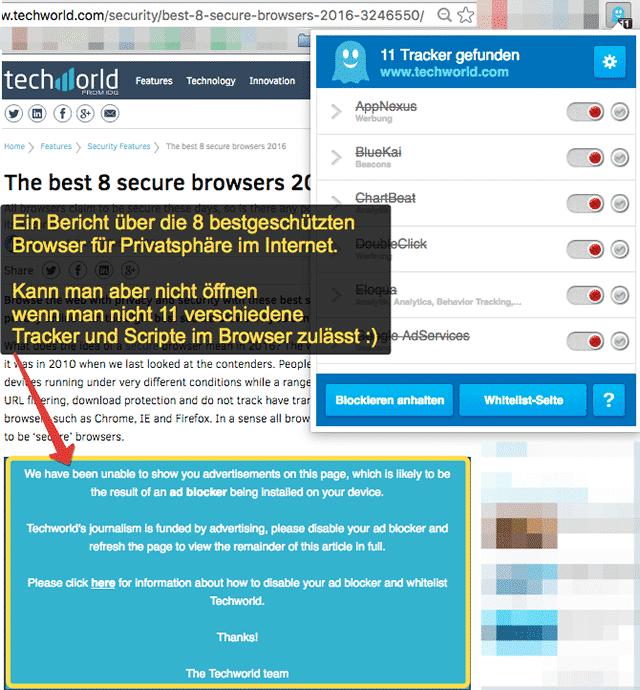 Techworld die 8 sichersten Browser - ein Artikel den wir nicht lesen können!
