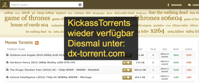 kickasstorrents wieder online