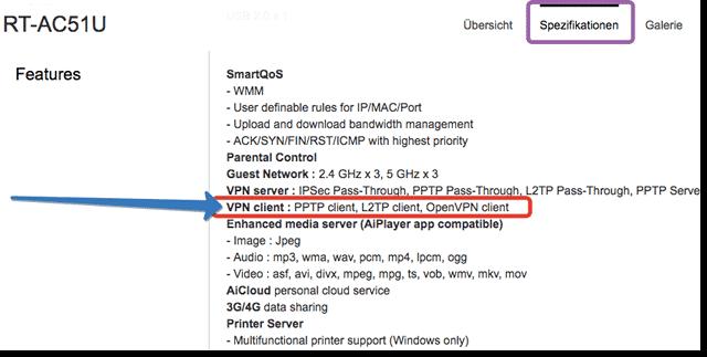ASUS Router VPN-Client Funktion