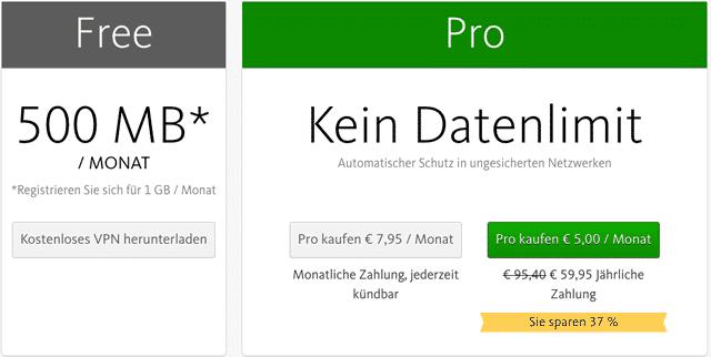 Avira Phantom VPN Preise & Tarife