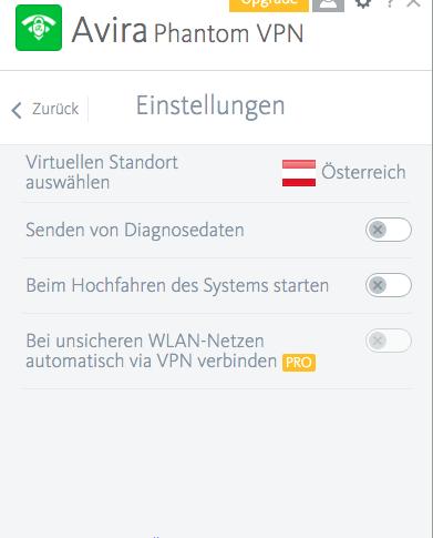 Avira Phantom VPN Einstellungen