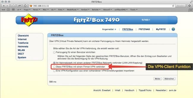 AVM Fritzbox VPN-Client Funktion