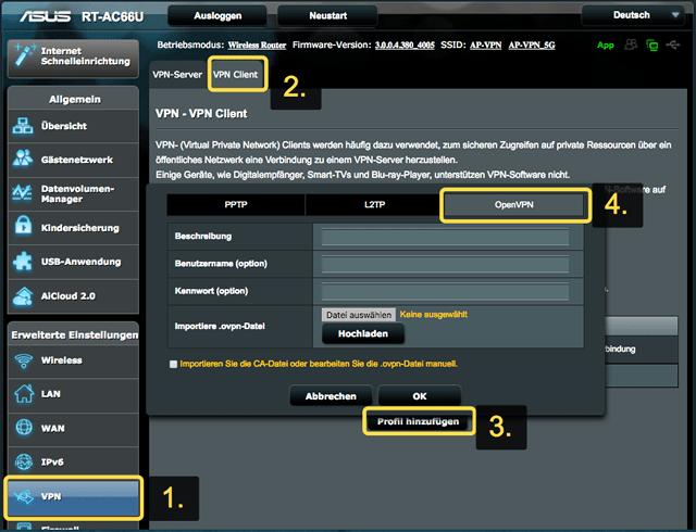 Router ASUS VPN Utwórz połączenie