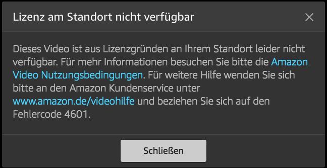Amazon Video Fehler Code 4601