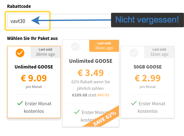 GooseVPN mit 30% Rabatt