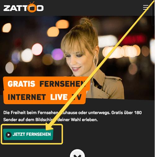 Zattoo Webseite aufrufen