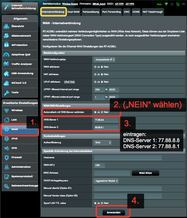 ASUS Router - WAN / DNS Einstellungen anpassen
