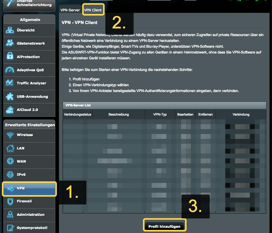 GooseVPN Profil auf ASUS Router hinzufügen