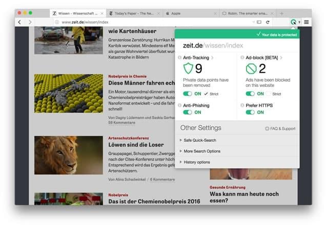CLIQZ Browser Steuerung
