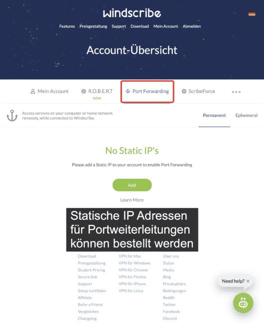 Eine statische IP Adresse mit Windscribe verwenden