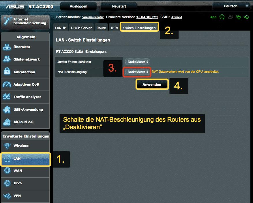 ASUSRouter NAT-Beschleunigung deaktivieren