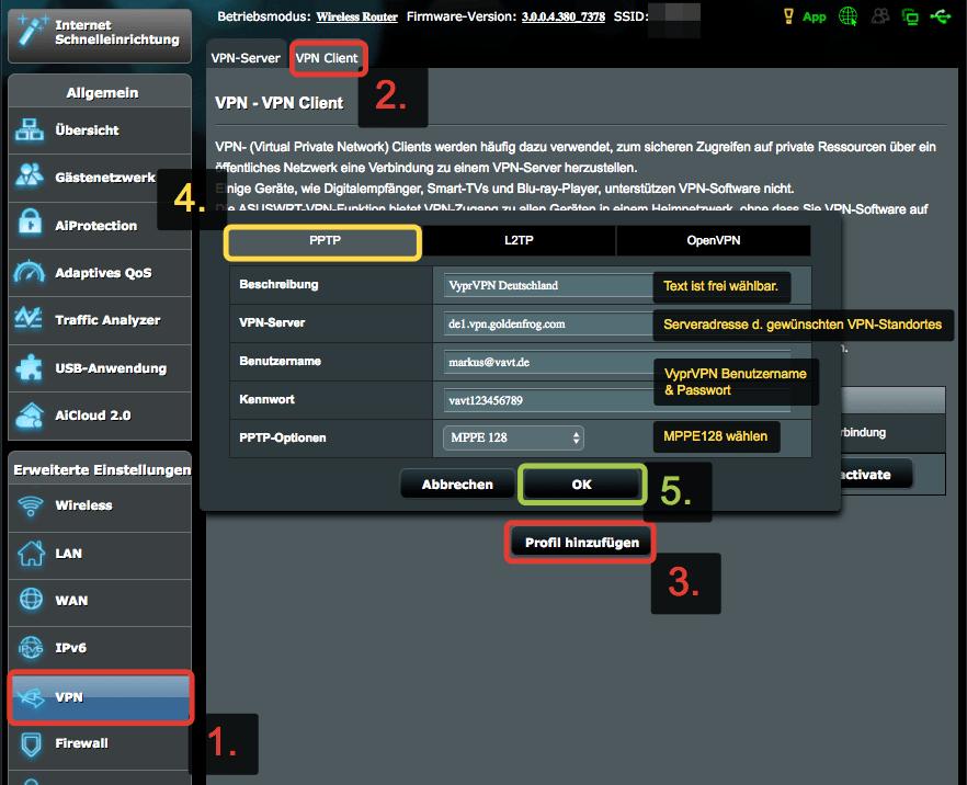 Anleitung VyprVPN auf ASUS Router