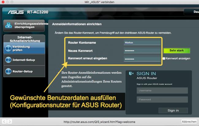 ASUS Router Einrichtungsmenü Schritt 1