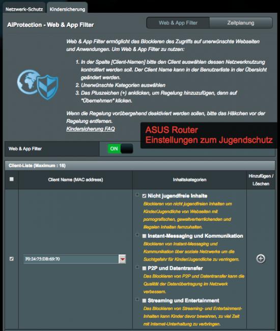ASUS Router integrierten Kinder-Jugendschutz.