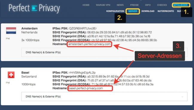 Perfect-Privacy VPN Server-Adressen