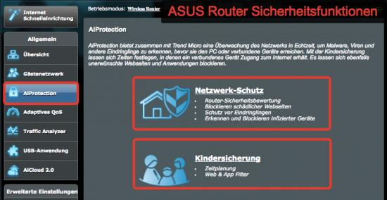 ASUS Router integrierte Sicherheitsfunktionen