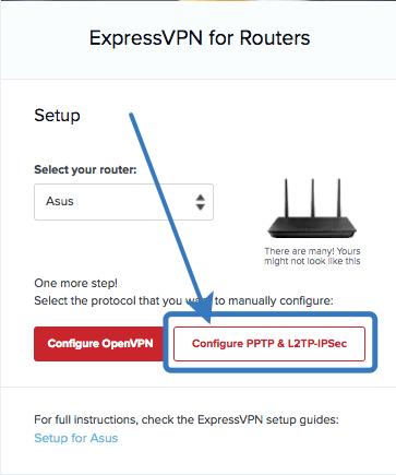 ExpressVPN Konfiguration PPTP wählen