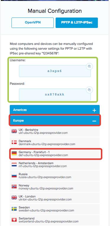 Einen Server wählen, die Benutzerdaten findest Du ebenfalls angezeigt.