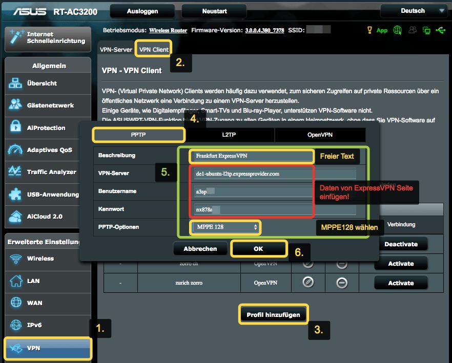Du richtest ein neues VPN-Client Profil ein.