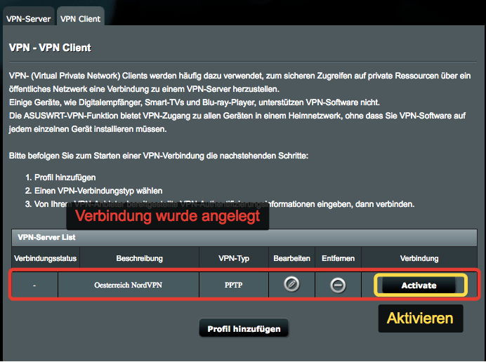 NordVPN aus ASUS WLAN-Router installieren
