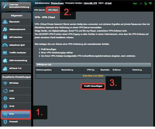 """Konfigurationsseite """"Profil hinzufügen"""""""