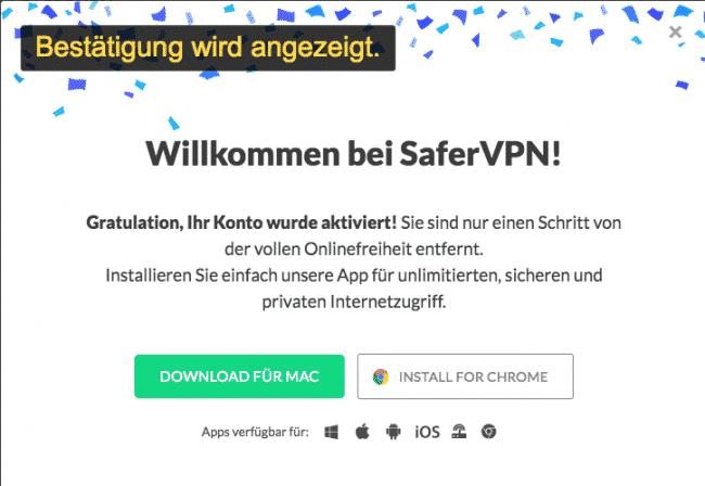 E-Mail bestätigt. Willkommen bei SaferVPN!