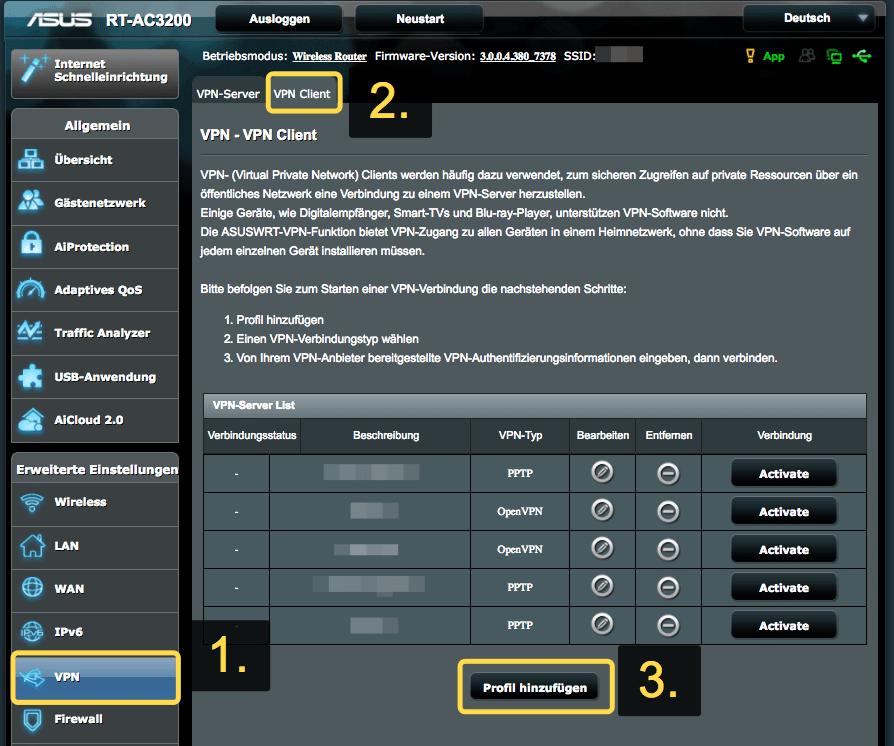 SaferVPN Router Neues Profil erstellen