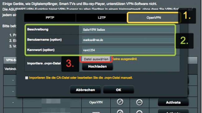 ASUS Konfigurationsseite: Zugangsdaten von SaferVPN eingeben