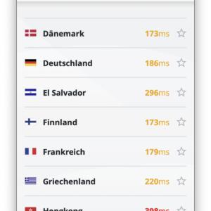 VyprVPN App - Standortauswahl
