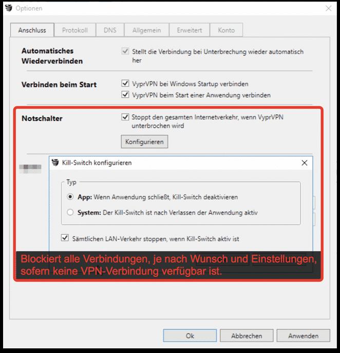 """VyprVPN """"KillSwitch"""" Funktion verhindert bekanntwerden der realen IP in jeder Situation"""
