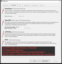 VyprVPN VPN-Protokolle / Auswahl