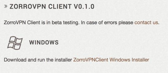 ZorroVPN Windows Client
