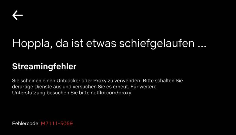 Netflix Fehlercode: M7111-5059