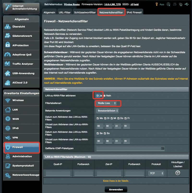ASUS KillSwitch Funktion (Netzwerkfilter)