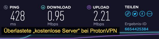 ProtonVPN Geschwindigkeit (kostenlose Server)